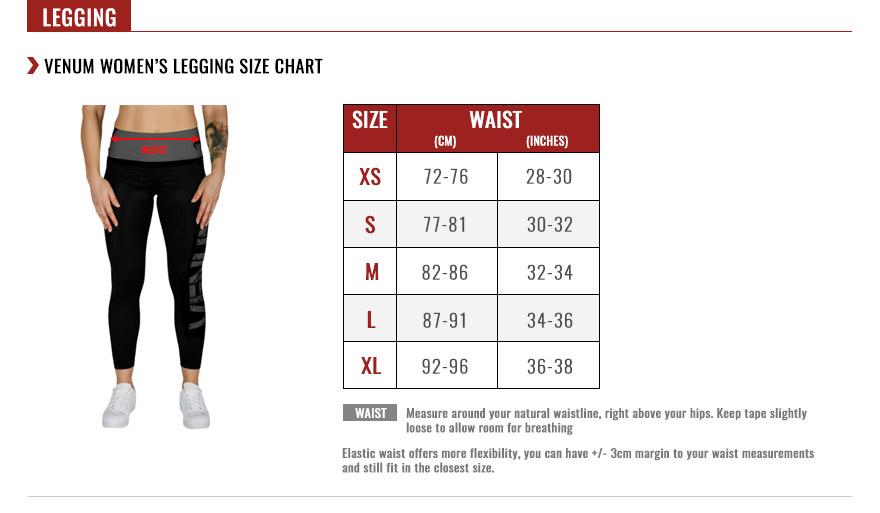 Venum Women's Leggings Size Chart