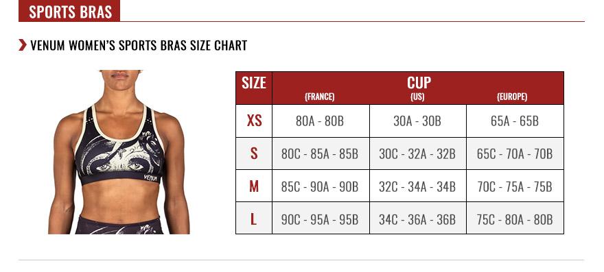Venum Women's Sport Bras Size Chart