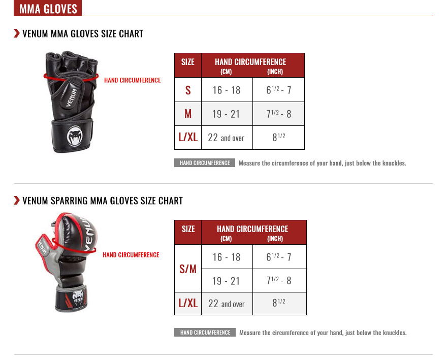 MMA Gloves Size Chart